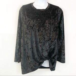 Bellamie Black Crushed Velvet Blouse - 2X